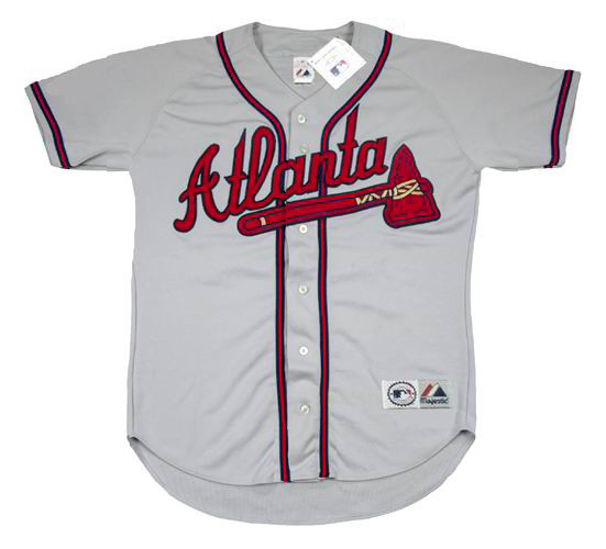 size 40 8ed06 03ded DEION SANDERS Atlanta Braves 1992 Away Majestic Throwback Baseball Jersey