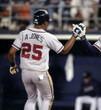 ANDRUW JONES Atlanta Braves 1999 Away Majestic Throwback Baseball Jersey - ACTION