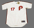 RHYS HOSKINS Philadelphia Phillies 1980's Majestic Throwback Home Baseball Jersey - FRONT