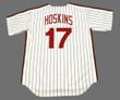 RHYS HOSKINS Philadelphia Phillies 1980's Majestic Throwback Home Baseball Jersey - BACK