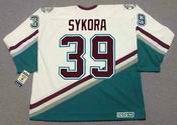 PETR SYKORA 2003 CCM Vintage Home Anaheim Mighty Ducks White Jersey - BACK