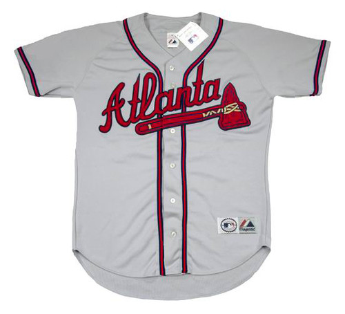 JEFF BLAUSER Atlanta Braves 1995 Away Majestic Throwback Baseball Jersey - FRONT