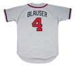 JEFF BLAUSER Atlanta Braves 1995 Away Majestic Throwback Baseball Jersey - BACK