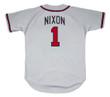 OTIS NIXON Atlanta Braves 1992 Away Majestic Throwback Baseball Jersey - BACK