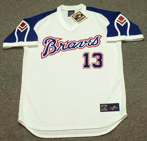 RONALD ACUNA JR. Atlanta Braves 1970's Home Majestic Throwback Baseball Jersey - FRONT