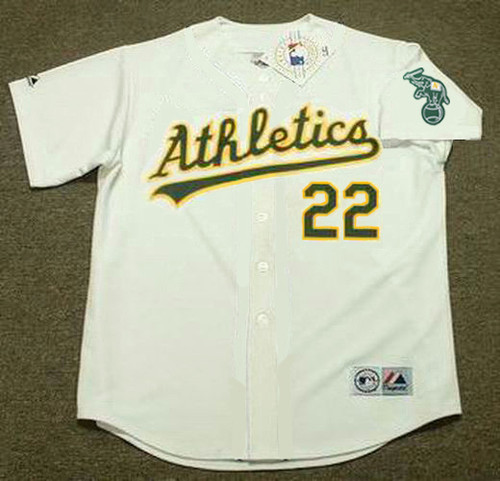 ERIC BYRNES Oakland Athletics 2002 Home Majestic Baseball Throwback Jersey - FRONT