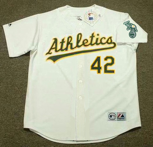 DAVE HENDERSON Oakland Athletics 1989 Home Majestic Baseball Throwback Jersey - FRONT