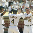 MIGUEL TEJADA Oakland Athletics 2002 Home Majestic Baseball Throwback Jersey - ACTION