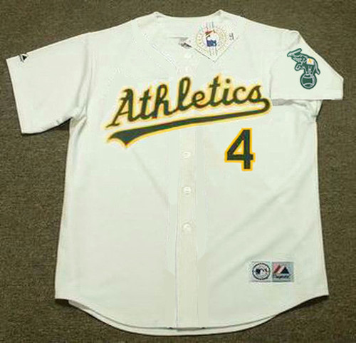 MIGUEL TEJADA Oakland Athletics 2002 Home Majestic Baseball Throwback Jersey - FRONT