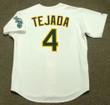 MIGUEL TEJADA Oakland Athletics 2002 Home Majestic Baseball Throwback Jersey - BACK