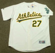 BILLY BEANE Oakland Athletics 1987 Home Majestic Baseball Throwback Jersey - FRONT