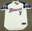 DANSBY SWANSON Atlanta Braves 1970's Home Majestic Throwback Baseball Jersey - FRONT