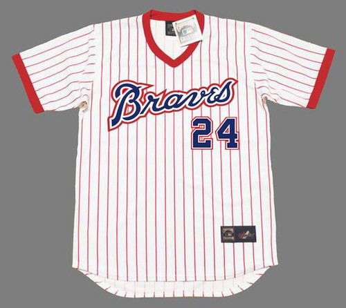 "JIMMY ""CANNON"" WYNN Atlanta Braves 1976 Home Majestic Throwback Baseball Jersey - FRONT"