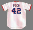 "BIFF ""POCO"" POCOROBA Atlanta Braves 1976 Home Majestic Throwback Baseball Jersey - BACK"