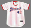 "BIFF ""POCO"" POCOROBA Atlanta Braves 1976 Home Majestic Throwback Baseball Jersey - FRONT"
