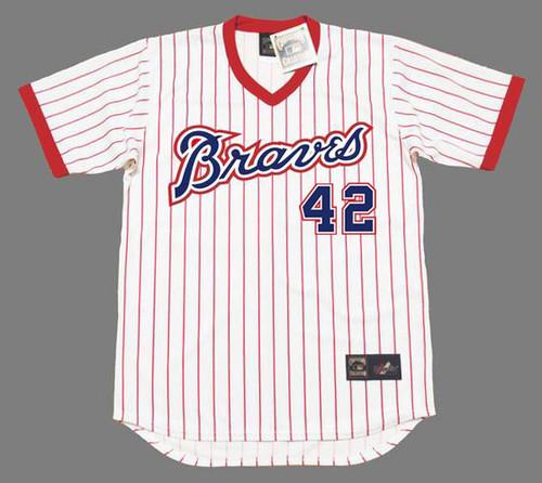 "BIFF ""POCO"" POCOROBA Atlanta Braves 1976 Home Majestic Throwback Baseball Jersey - FRONT"