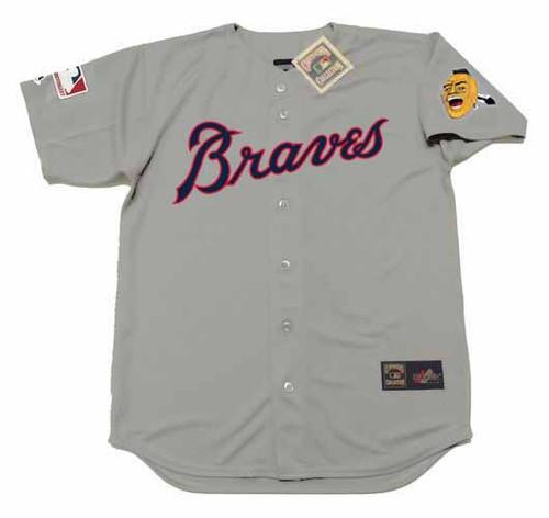 HANK AARON Atlanta Braves 1969 Away Majestic Throwback Baseball Jersey - FRONT
