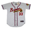 LEW BURDETTE Milwaukee Braves 1955 Away Majestic Throwback Baseball Jersey - FRONT