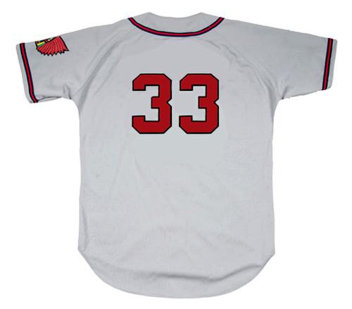 LEW BURDETTE Milwaukee Braves 1955 Away Majestic Throwback Baseball Jersey - BACK
