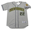 CHRISTIAN YELICH Milwaukee Brewers 1990's Away Majestic Throwback Baseball Jersey  - FRONT