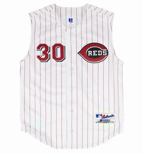 KEN GRIFFEY JR. Cincinnati Reds 2000 Home Russell Authentic Throwback Baseball Jersey - FRONT