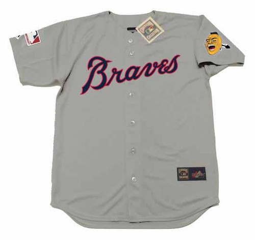 DUSTY BAKER Atlanta Braves 1969 Away Majestic Throwback Baseball Jersey - FRONT