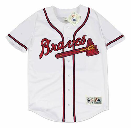 DEION SANDERS Atlanta Braves 1992 Home Majestic Throwback Baseball Jersey - FRONT