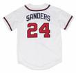 DEION SANDERS Atlanta Braves 1992 Home Majestic Throwback Baseball Jersey - BACK