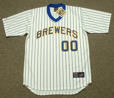 c60bb5456 MILWAUKEE BREWERS 1980 s Majestic Cooperstown Throwback Home Jersey  Customized