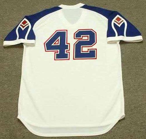BIFF POCOROBA Atlanta Braves 1975 Home Majestic Throwback Baseball Jersey - BACK