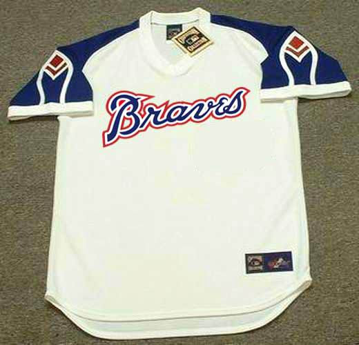 the best attitude 3a58d bc8e8 ATLANTA BRAVES 1970's Majestic Cooperstown Throwback Home Baseball Jersey