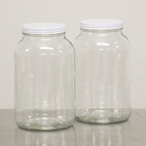 1 GAL GLASS STORAGE JAR, wide neck, clear, new