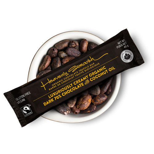 ORGANIC TRUFFLE BAR, DARK 70% CHOCOLATE with COCONUT OIL