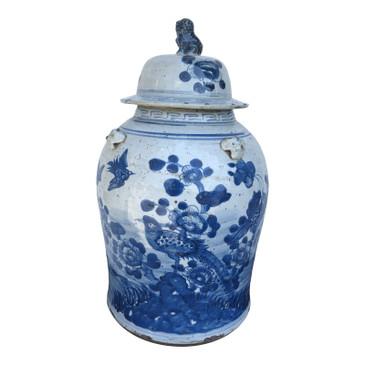 Chinese Blue & White Porcelain Bird Temple Jar