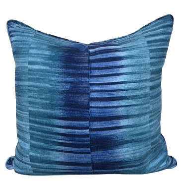 Turquoise and Navy Stripe Pillow