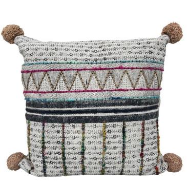 Embroidered Pom-Pom Pillow