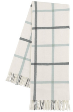 Charcoal & Seaglass Tattersall Plaid Throw