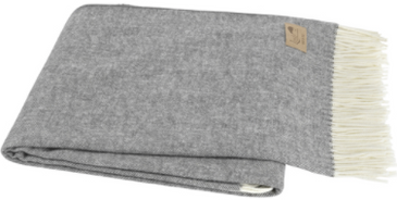 Italian Herringbone Throw - Charcoal Grey