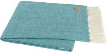 Italian Herringbone Throw  - Teal