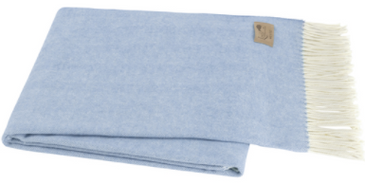 Italian Herringbone Throw - Blue Denim