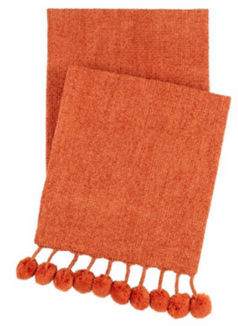 Chenille Pom-Pom Throw - Spice