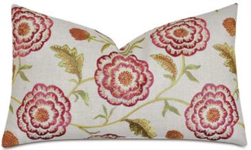 Floral Embroidered Lumbar Pillow