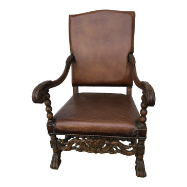 Early 20th Century Carved Clawfoot Leather Chair