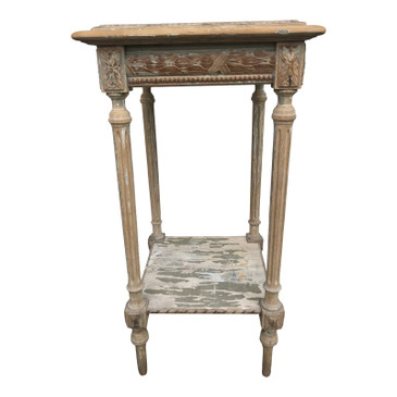 1890's Antique French Side Table With Marble Top