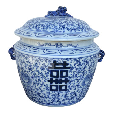 Chinese Blue and White Porcelain Floral Lidded Jar