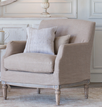 Eloquence Louis Cannes Bergere Chair in Natural Linen Slipcover/Starboard oak