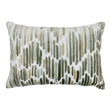 Dark Green/Yellow Cut Velvet Pillow