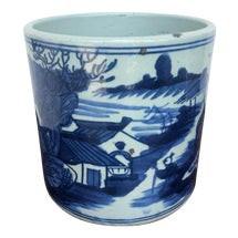 Blue & White Porcelain Planter (Village)