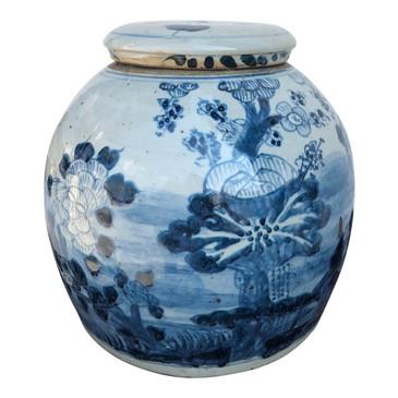 Blue & White Porcelain Lidded Jar (Flowers)