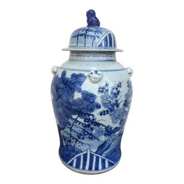 Blue & White Porcelain Temple Jar (Plants)